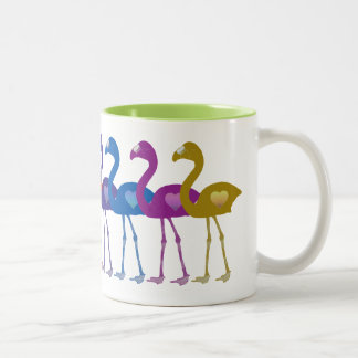Regenbogen-Herz-Flamingo-Retro Vintage Zweifarbige Tasse