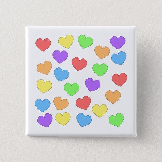 Regenbogen-Herz-Knopf 0001 Quadratischer Button 5,1 Cm