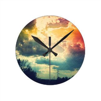 Regenbogen-Himmel-Uhr Runde Wanduhr
