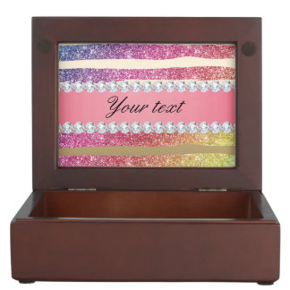 Regenbogen-Imitat-Glitter Stripes Diamant-Gold Erinnerungsdose