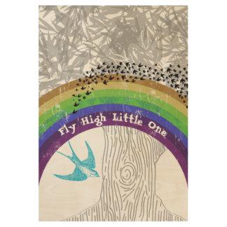 Regenbogen-inspirierend Zitat-Fliege hoch kleines Holzposter