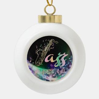 Regenbogen-Jazz-Musik-Weihnachtsverzierung Keramik Kugel-Ornament