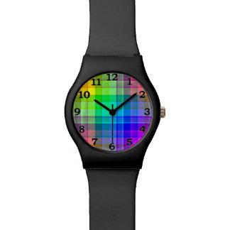Regenbogen-karierte Gewohnheit Armbanduhr