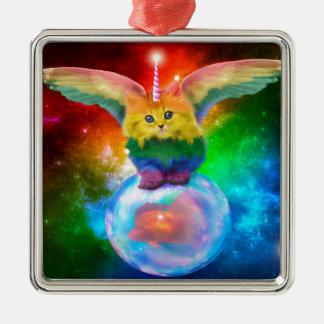 Regenbogen-Kätzchen-Einhorn-Goldfisch-Raum-Freunde Silbernes Ornament