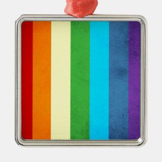 Regenbogen keucht Einhorn Silbernes Ornament