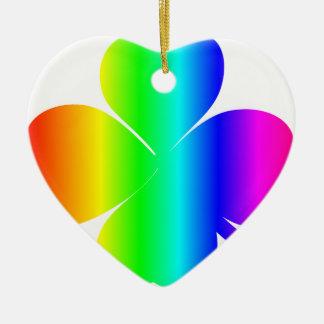 Regenbogen-Klee Keramik Herz-Ornament