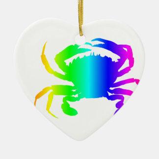 Regenbogen-Krabbe Keramik Herz-Ornament