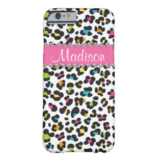 Regenbogen-Leopard-diamante de imitación-Leopard Barely There iPhone 6 Hülle