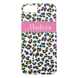 Regenbogen-Leopardrhinestone-Leopard BLING iPhone iPhone 8/7 Hülle