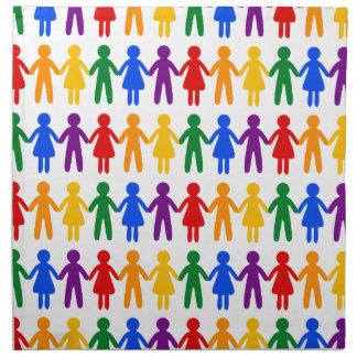 Regenbogen-Leute-Muster Serviette