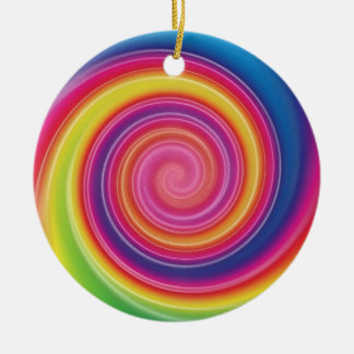 Regenbogen Lollypop bunter Strudel Keramik Ornament