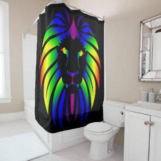 Regenbogen-Löwe auf Schwarzem Duschvorhang