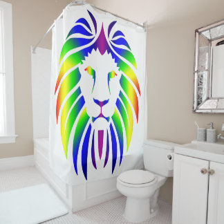 Regenbogen-Löwe auf Weiß Duschvorhang