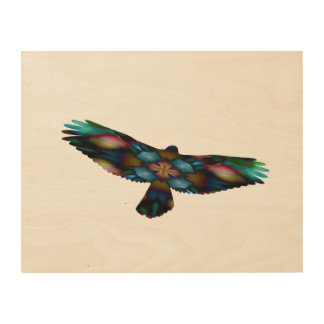 Regenbogen-Mandala-Kaleidoskop-Falke im Flug Holzdruck