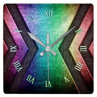Regenbogen-Metallentwurfs-Wanduhr Quadratische Wanduhr