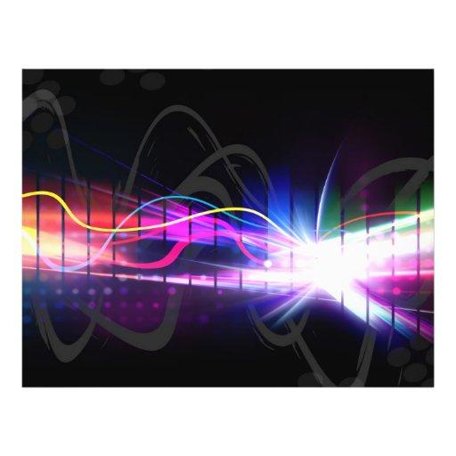 Regenbogen-musikalische Wellen-Form Vollfarbige Flyer