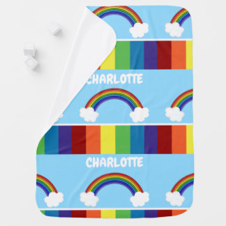 Regenbogen-Muster-personalisiertes buntes Kinderwagendecke