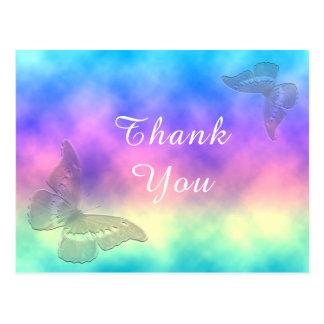 [Regenbogen-Nebel] danken bunte Schmetterlinge Postkarte