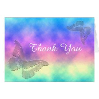 [Regenbogen-Nebel-] Schmetterlinge danke Karte