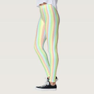 Regenbogen-Pastell-Nadelstreifen Leggings