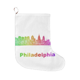 Regenbogen-Philadelphia-Skyline Großer Weihnachtsstrumpf