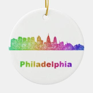 Regenbogen-Philadelphia-Skyline Rundes Keramik Ornament