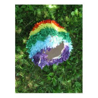 Regenbogen Piñata nach dem Party Postkarte