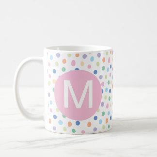Regenbogen punktiert rosa Anfangsbuchstabe-Tasse Tasse