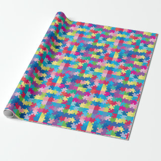 Regenbogen-Puzzlespiel-Muster-Autismus-Bewusstsein Geschenkpapier