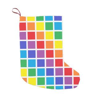 Regenbogen-Quadrate Kleiner Weihnachtsstrumpf