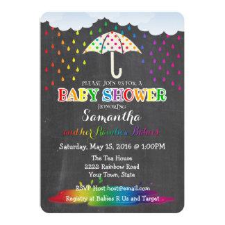 Regenbogen-Regentropfen-DoppelBabyparty-Einladung Karte