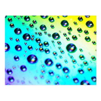 Regenbogen-Regentropfen Postkarte