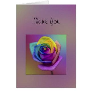 Regenbogen-Rosen-Blume danken Ihnen Karte