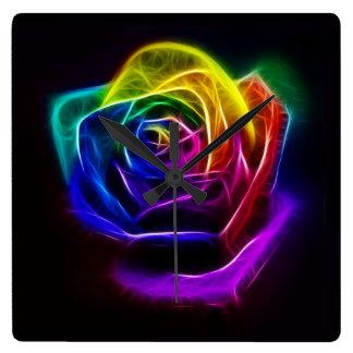 Regenbogen-Rosen-Fraktal Quadratische Wanduhr