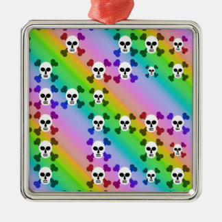 Regenbogen-Schädel Silbernes Ornament