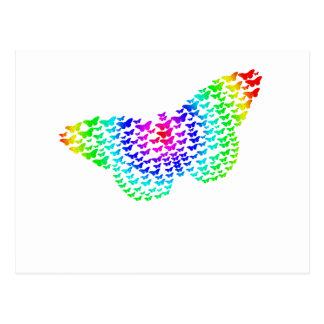 Regenbogen-Schmetterlings-Silhouette Postkarte