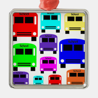 Regenbogen-Schulbusse Silbernes Ornament