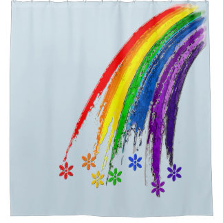 Regenbogen sind Himmel-Blumen-Duschvorhang Duschvorhang
