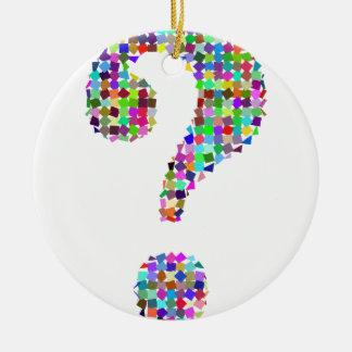 Regenbogen-Spritzer-Fragezeichen Keramik Ornament