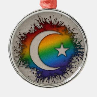 Regenbogen-Stern und Halbmond Silbernes Ornament