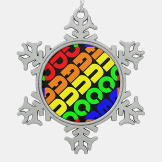 Regenbogen-Tanz Schneeflocken Zinn-Ornament