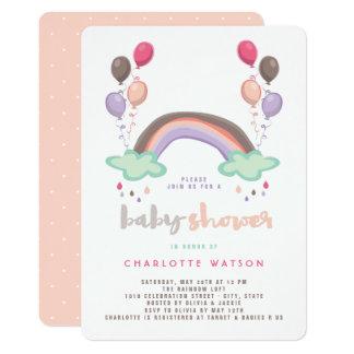 Regenbogen-u. Ballon-Mädchen-Babyparty-Einladung Karte