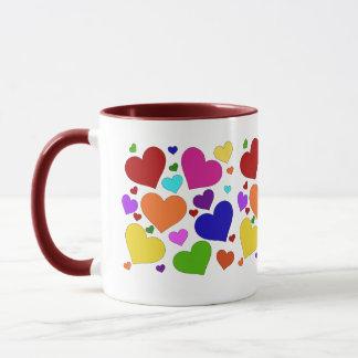 Regenbogen-Valentinsgruß-Herzen Tasse