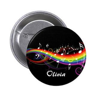 Regenbogen-Weiß-Musiknoten Anstecknadelbutton