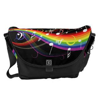 Regenbogen-weiße Musiknoten-Rickshaw-Bote-Tasche Kuriertasche