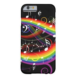 Regenbogen-weißer Musiknoten auf Schwarzem Barely There iPhone 6 Hülle