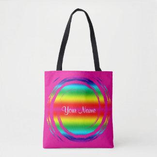 Regenbogen-wirbelndes Kreis-Rosa Tasche