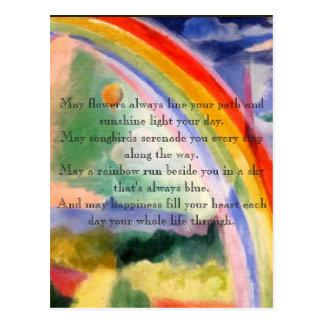 Regenbogen-Wünsche Postkarte