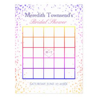 RegenbogenConfetti des Brautparty-Bingo-  Postkarte