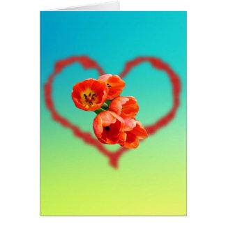 Regenbogenfarben für Tulpen und Herz Karte